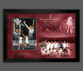 Billy Bonds And Trevor Brooking Signed West Ham United  Photograph Framed In A Picture Mount Display