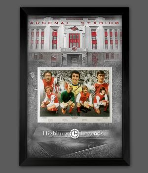 Arsenal Fc 1971 Double Winners Photograph Signed By  7 Framed In A Picture Mount Presentation: A
