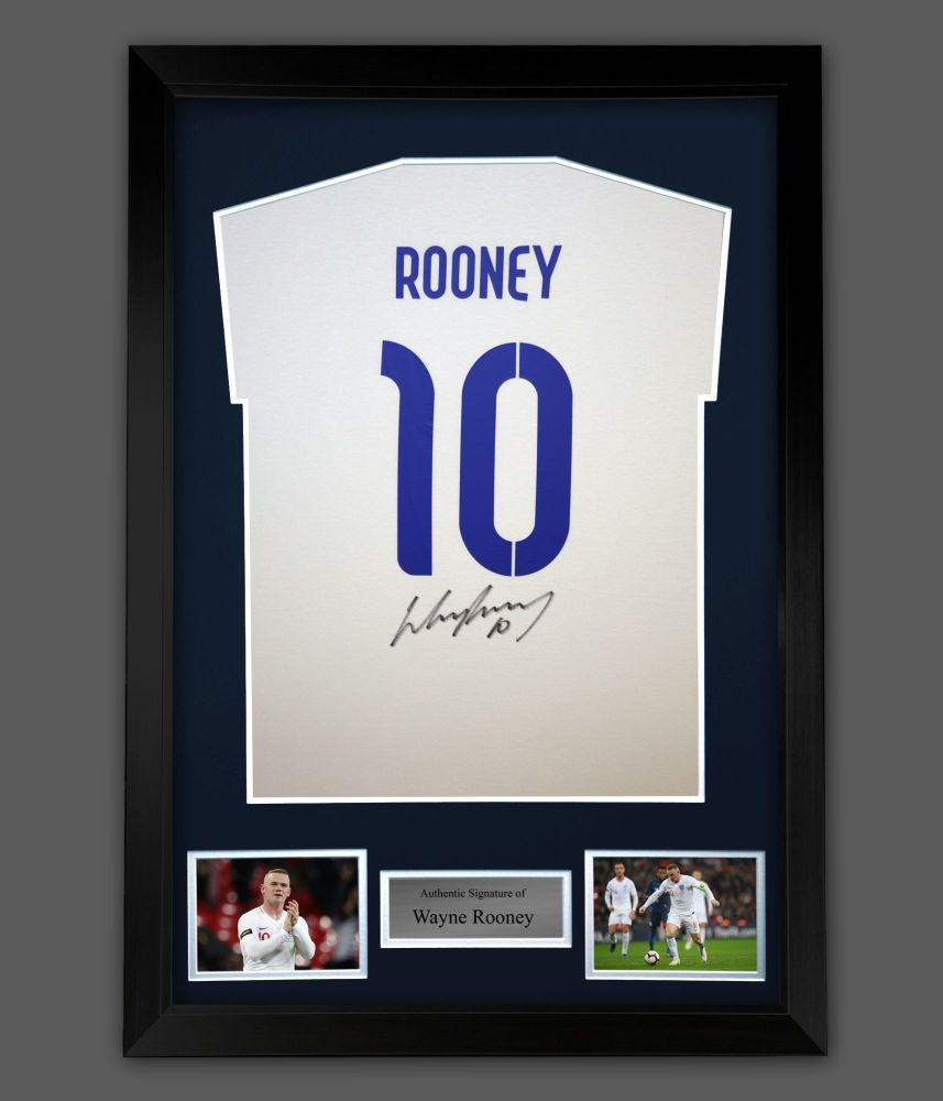 Wayne Rooney Hand Signed White  T-Shirt With Blue  No 10 In A Frame Prese