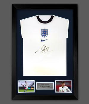 Mason Mount Hand Signed White  England  Football Shirt  In A Framed Presentation