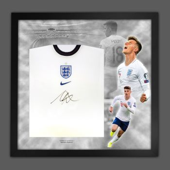 Mason Mount Hand Signed White England Football Shirt In Framed Picture Mount Presentation