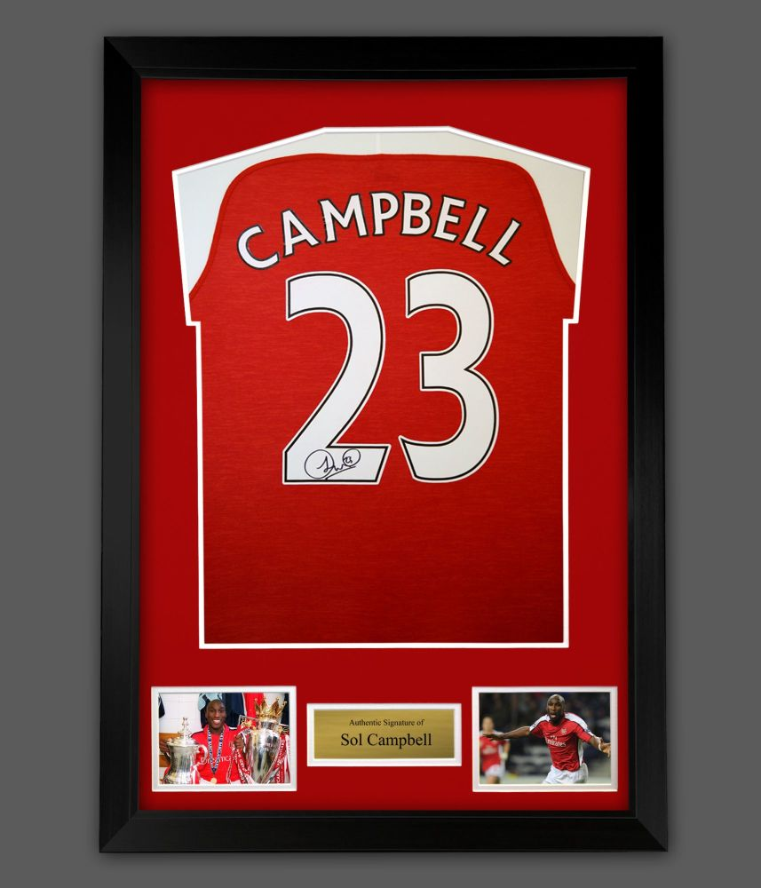 Sol Campbell Signed Arsenal Fc Football Shirt In A Framed Presentation :