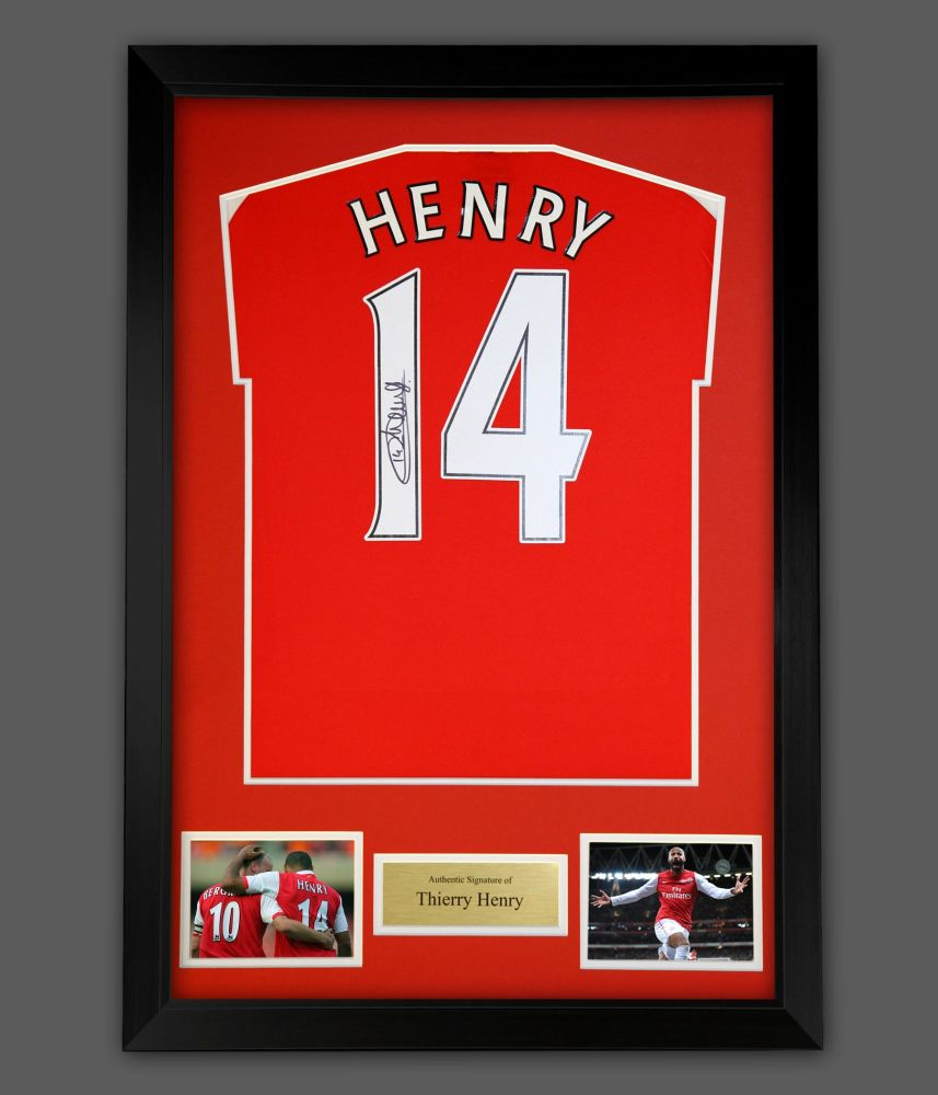 Thierry Henry Signed Arsenal Football Shirt In A  Frame Presentation : Sta