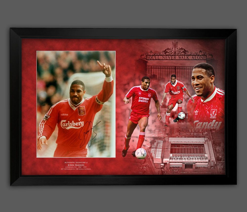 John Barnes Signed Liverpool Fc Photograph Framed  In A Picture Mount Dis