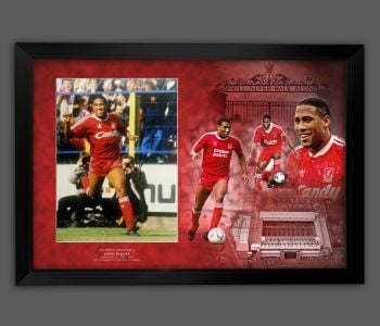 John Barnes Signed Liverpool Fc Photograph Framed  In A Picture Mount Display : B