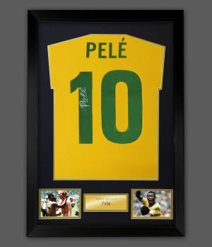 Pele Hand Signed Brazil Style 1970 Football Shirt In A Framed Presentation : Star Deal