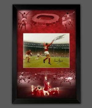 Geoff Hurst And  Martin Peters Signed 12x16  England 66 Photograph Framed In A Picture Mount Display : Star Deal
