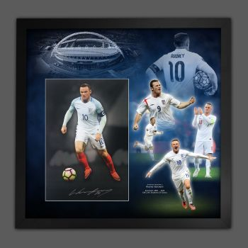 Wayne Rooney Signed England  Football Photograph In A Framed Picture Mount  Presentation : Star Deals