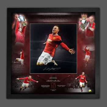 Wayne Rooney Signed Manchester United  Football Photograph In A Framed Picture Mount  Presentation : Star Deals