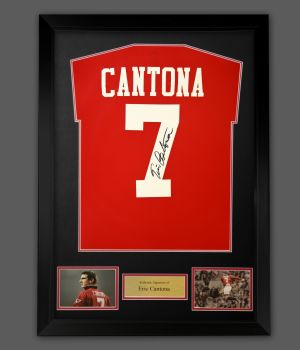 Eric Cantona Hand Signed Manchester United Football Shirt In A Framed Display