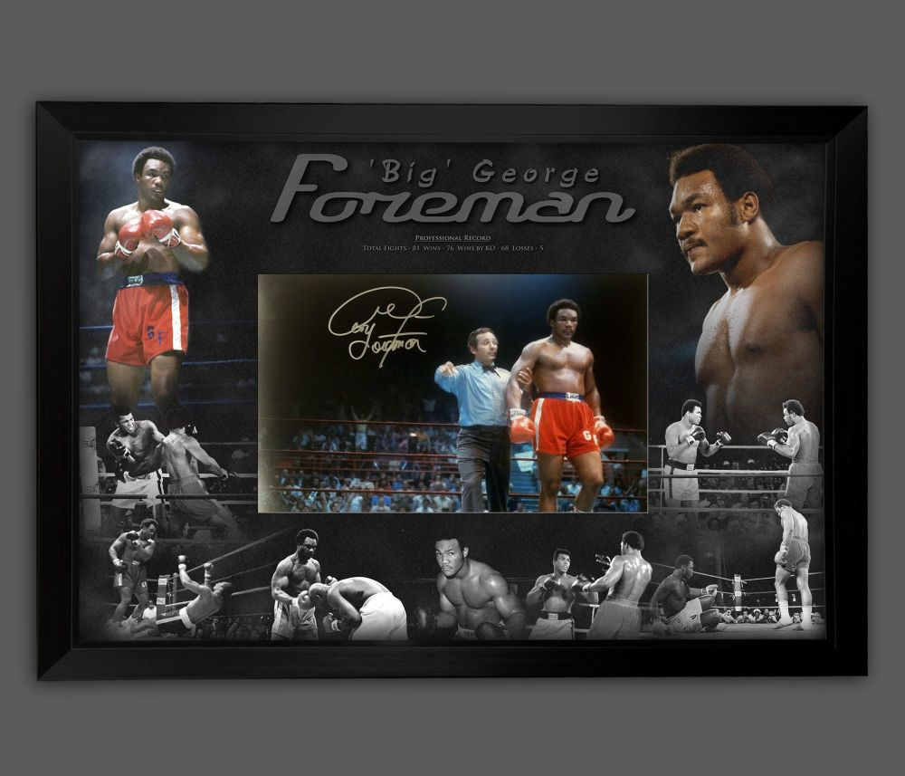 George Foreman Signed 12x10 Boxing Photograph In A Framed Picture Mount P