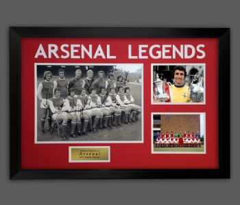 Arsenal Fc 1971 Double Winners Photograph Signed By  10 In A Framed Presentation