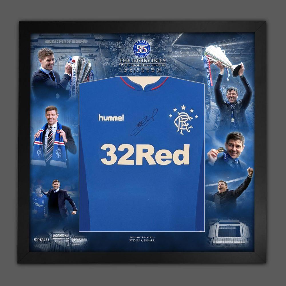 Steven Gerrard Signed Rangers Fc  Football Shirt Framed In A  Invincible