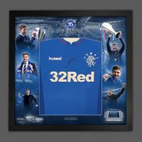 Steven Gerrard Signed Rangers Fc  Football Shirt Framed In A  Invincibles Picture Mount Display