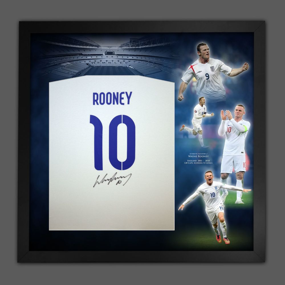 Wayne Rooney Hand Signed And Framed  White T-Shirt In A Picture Mount Dis
