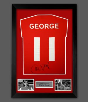 Charlie George Hand Signed Red Player  T-Shirt In A Framed Presentation