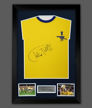 Charlie George Hand Signed Arsenal 1971 Football Shirt In A Framed Presentation