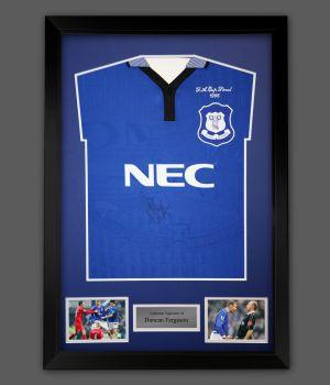 Duncan Ferguson Signed 1995 Everton Football Shirt In A Framed Presentation