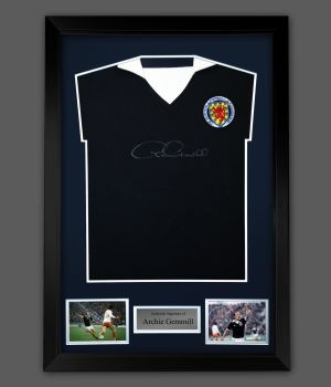 Archie Gemmill Signed Front Scotland Football Shirt In A Framed Presentation