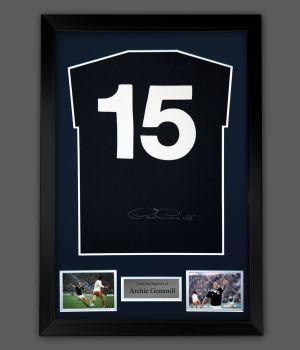 Archie Gemmill Signed Back Scotland Football Shirt In A Framed Presentation