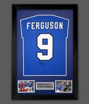 Duncan Ferguson Hand Signed Blue Player T-Shirt In A Framed Presentation