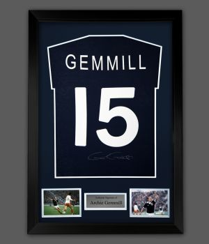 Archie Gemmill Signed Navy Blue Player T-Shirt In A Framed Presentation