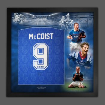 Ally McCoist Hand Signed And Framed  Rangers Football Shirt In A Picture Mount Display