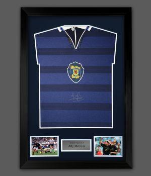 Ally McCoist Hand Signed Scotland Football shirt  In A Framed Presentation : A