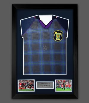 Ally McCoist Hand Signed Scotland Front Euro 96 Football shirt  In A Framed Presentation