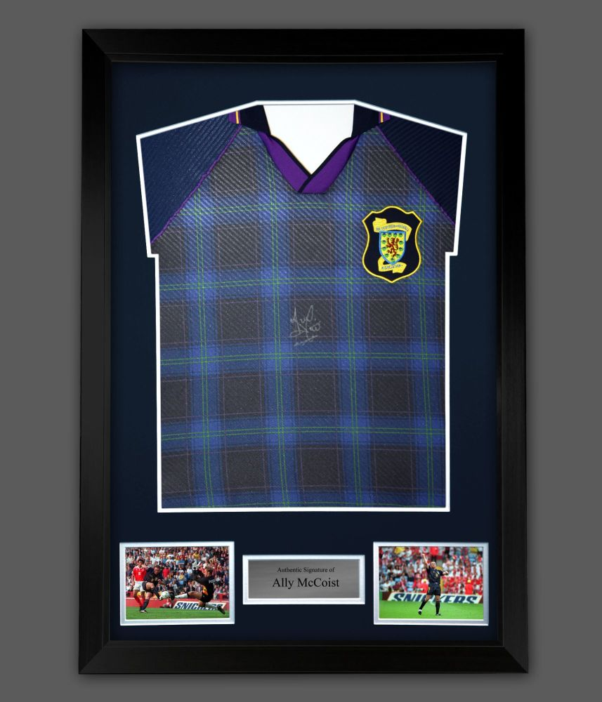 Ally McCoist Hand Signed Scotland Front Euro 96 Football shirt  In A Framed