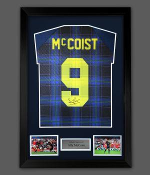 Ally McCoist Hand Signed Scotland Back Euro 96 Football shirt  In A Framed Presentation