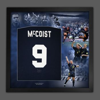 Ally McCoist Hand Signed And Framed Royal Blue Player T-Shirt In A Picture Mount Display