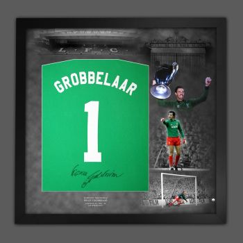 Bruce Grobbelaar Hand Signed And Framed Green Player T-Shirt In A Picture Mount Display