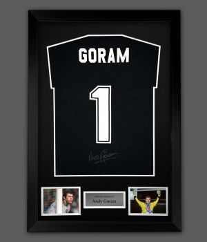 Andy Goram Hand Signed Black  Player T-Shirt In A Framed Presentation : A