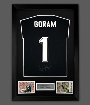 Andy Goram Hand Signed Black  Player T-Shirt In A Framed Presentation : B