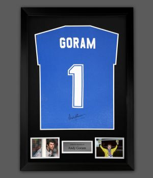 Andy Goram Hand Signed Blue Player T-Shirt In A Framed Presentation