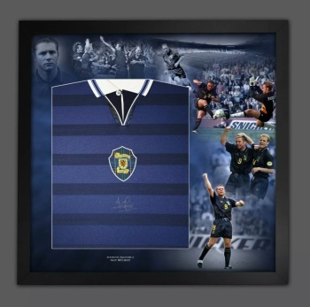 Ally McCoist Hand Signed And Framed  Scotland  Football Shirt In A Picture Mount Display : A