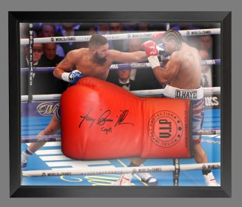 Tony Bellew Signed  Red Vip  Boxing Glove In A Dome Frame : A