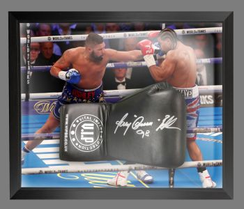 Tony Bellew Signed  Black  Vip Boxing Glove In A Dome Frame : A