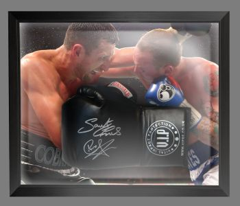 Carl Froch And George Groves Dual Signed Black Boxing Glove In A Dome Frame : A