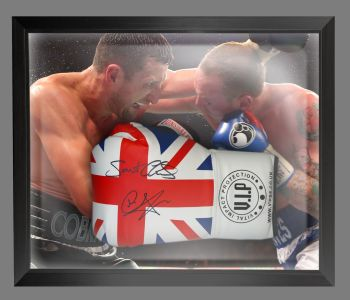 Carl Froch And George Groves Dual Signed  Union Jack  Boxing Glove In A Dome Frame