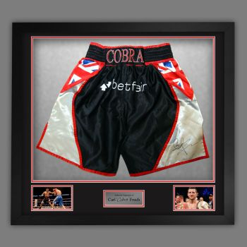 Carl Froch Signed And Framed Custom Made Boxing Trunks