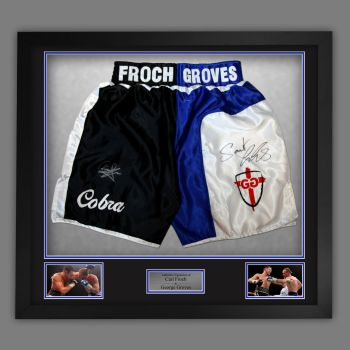 Carl Froch And George Groves Dual Signed And Framed Custom Made Boxing Trunks