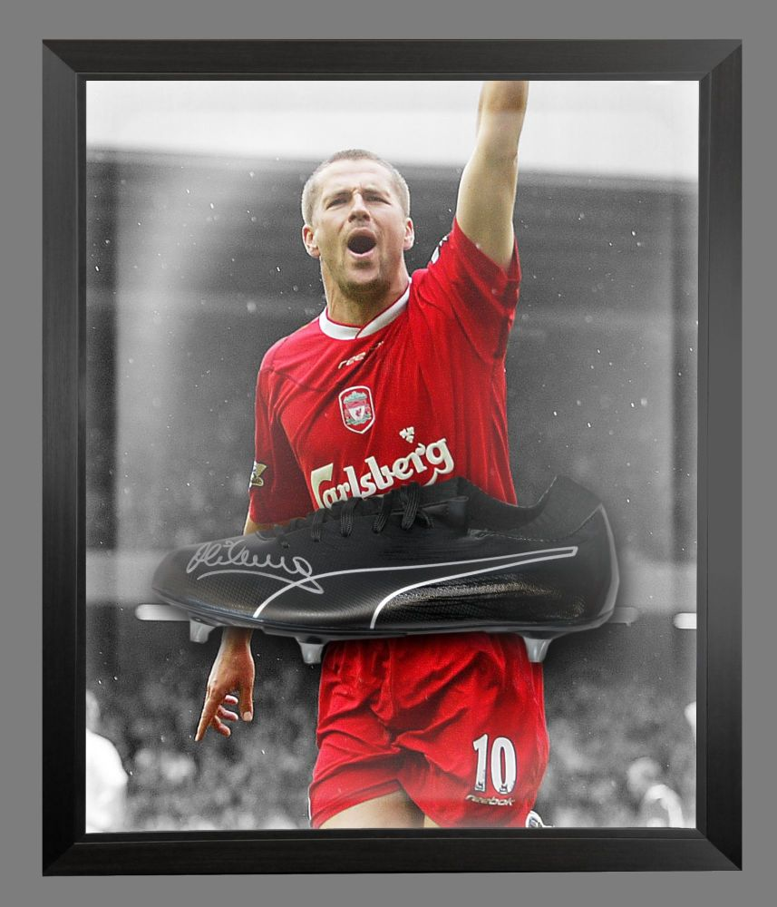 Michael Owen Liverpool Fc  Signed Black Football Boot In An Acrylic Dome Fr