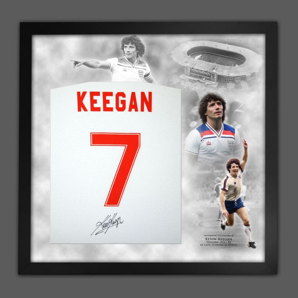 Kevin Keegan Hand Signed White Player T-Shirt In A Framed Picture Mount Pre
