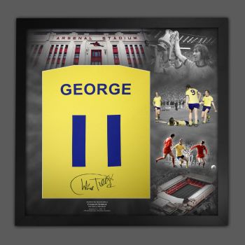 Charlie George Hand Signed And Framed Yellow Player T-Shirt In A Picture Mount Display