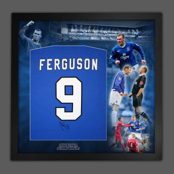 Duncan Ferguson Hand Signed And Framed Blue Player T-Shirt In A Picture Mount Display