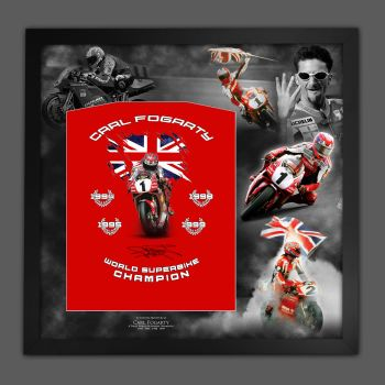 Carl Fogarty Hand Signed Custom Designed T-Shirt Framed In A Picture Mount Display