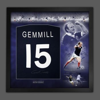 Archie Gemmill  Hand Signed And Framed Dark Blue Player T-Shirt In A Picture Mount Display