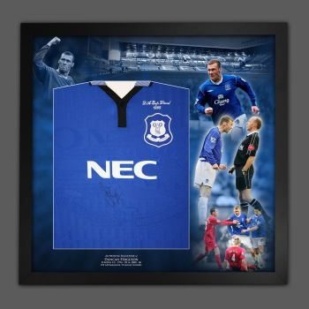 Duncan Ferguson Signed And Framed Everton Fc Football Shirt In A Picture Mount Display